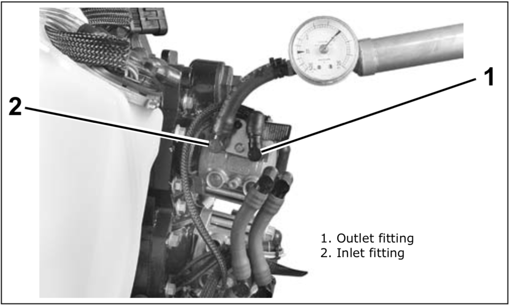 How do I check the fuel pressure on my 2011 Evinrude 200 hp V6?