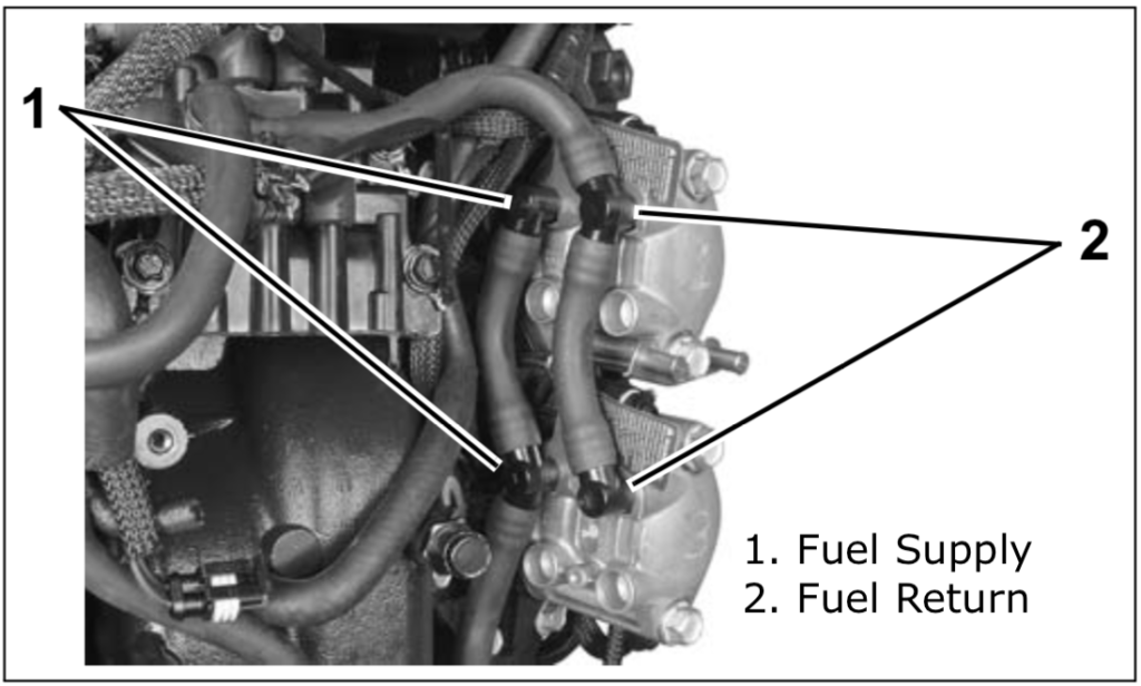 Make sure their is no air in the engines fuel supply manifold.