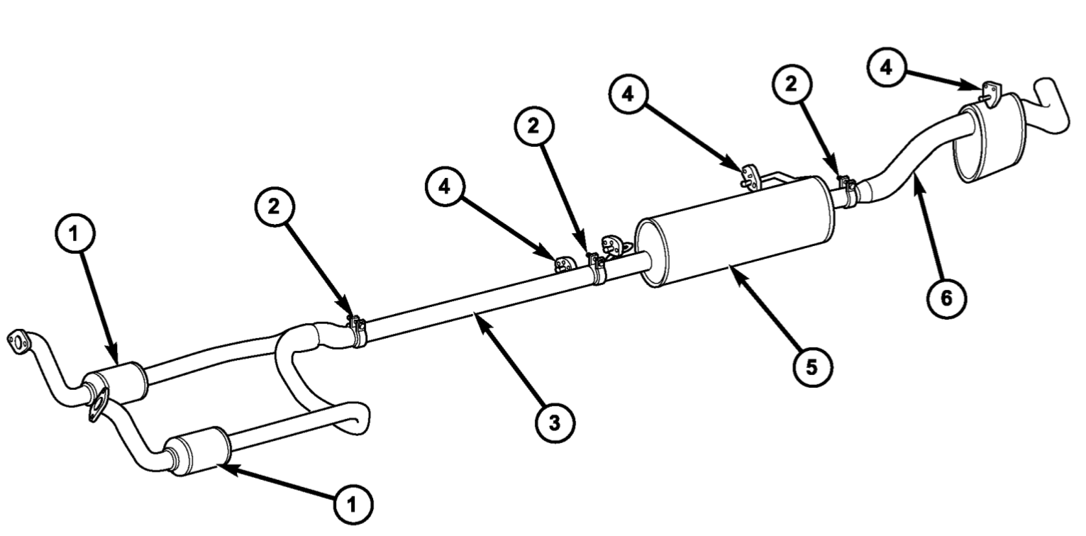 Picture diagram illustrating the 2004 Dodge Ram 1500 exhaust system