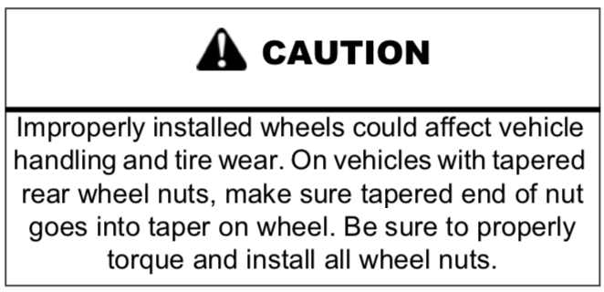 Take care to avoid off-centered lug nuts on steel wheels, this doesn't apply to aluminum wheels.