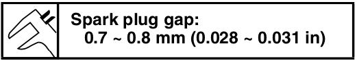 Yamaha EF3000iSB EF3000iSEB spark plug gap.